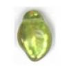 Glass Leaves 9X14mm Avocado Aurora Borealis Strung